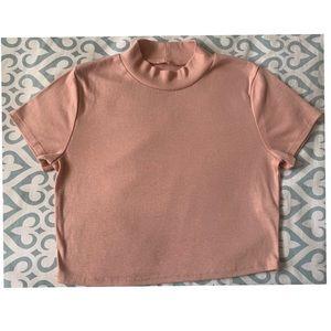 Pink High Neck Crop Top